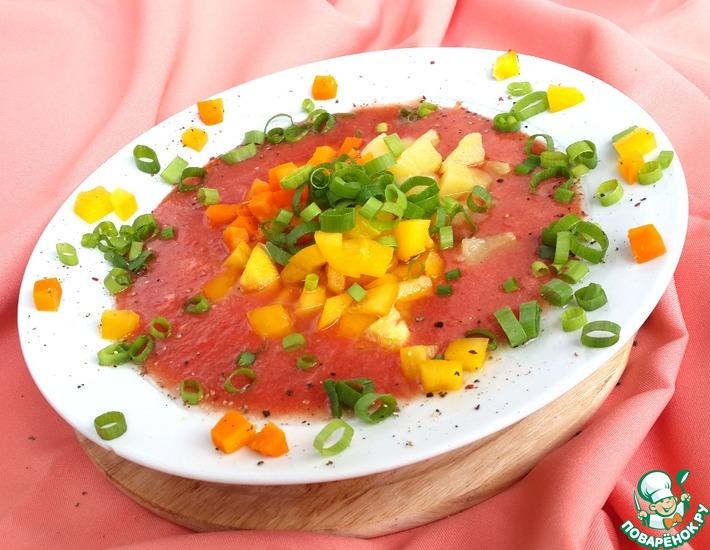 Рецепт: Томатный холодный суп с овощами