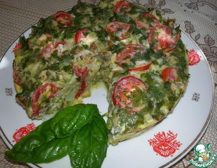 Рецепт: Запеканка из цветной капусты и брокколи с шампиньонами