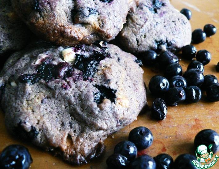 Рецепт: Черничное печенье с белым шоколадом
