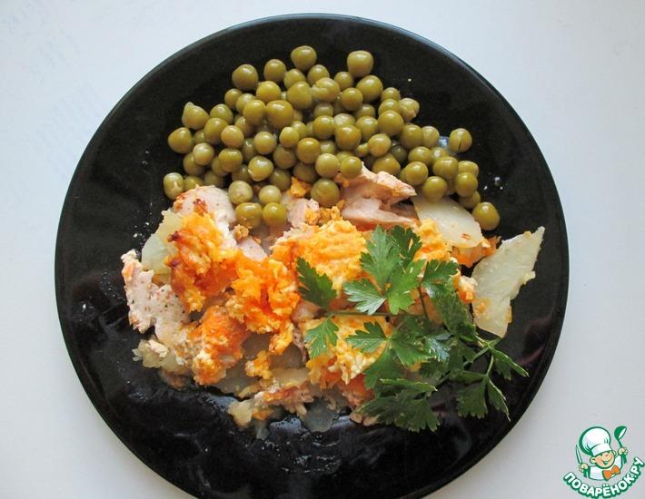 Рецепт: Курица, запеченная с картошкой по-деревенски в микроволновке