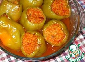 Рецепт Перец, фаршированный булгуром с овощами