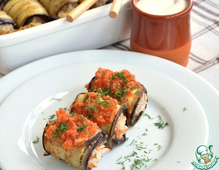 Рецепт: Голубцы баклажановые в ароматном томатном пюре