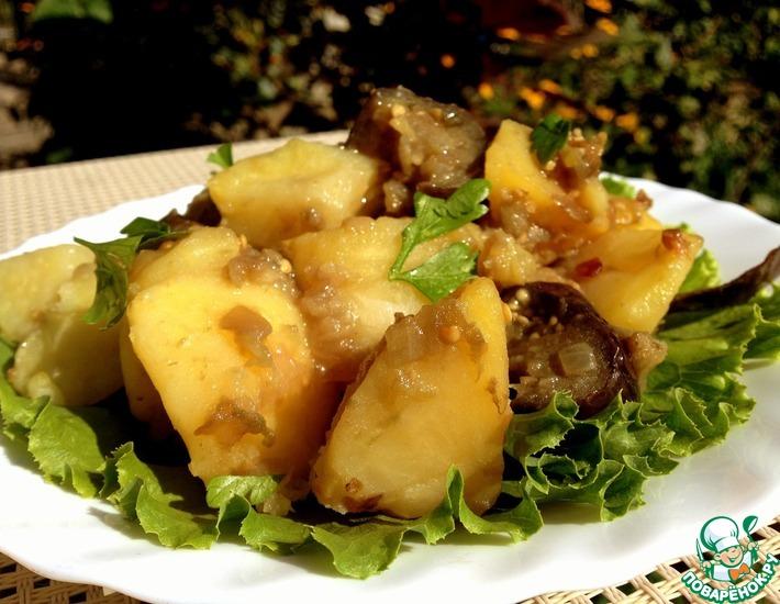 Рецепт: Гарнир из картофеля и баклажанов