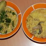 Кукурузная каша с кабачком, луком и грибами