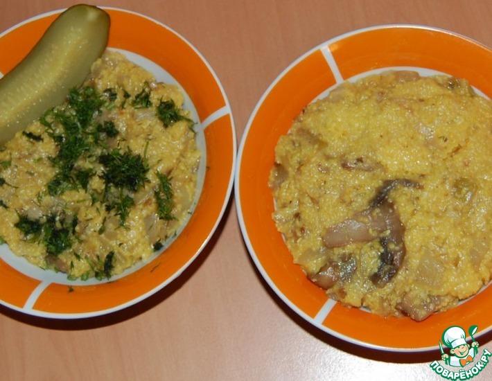 Рецепт: Кукурузная каша с кабачком, луком и грибами