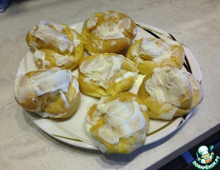 Рецепт: Пирожные Шу со сливочно-творожным кремом