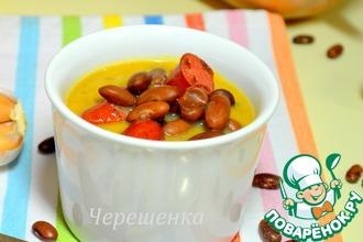 Рецепт: Тыквенный суп с фасолью и охотничьими колбасками