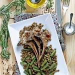 Баранина с зеленой чечевицей и фасолью
