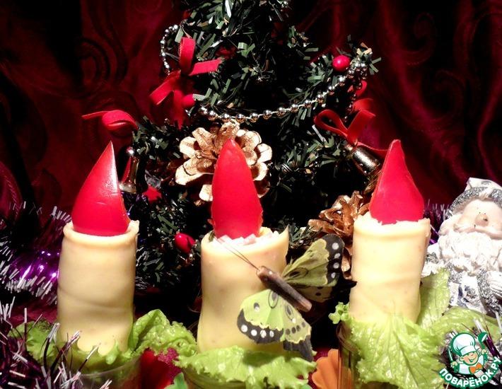 Рецепт: Новогодние свечи для фуршетного стола