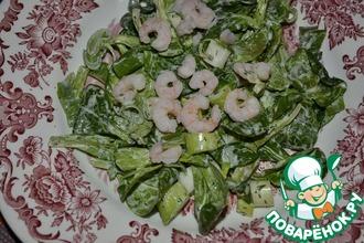 Рецепт: Фельд-салат с креветками и зеленым луком