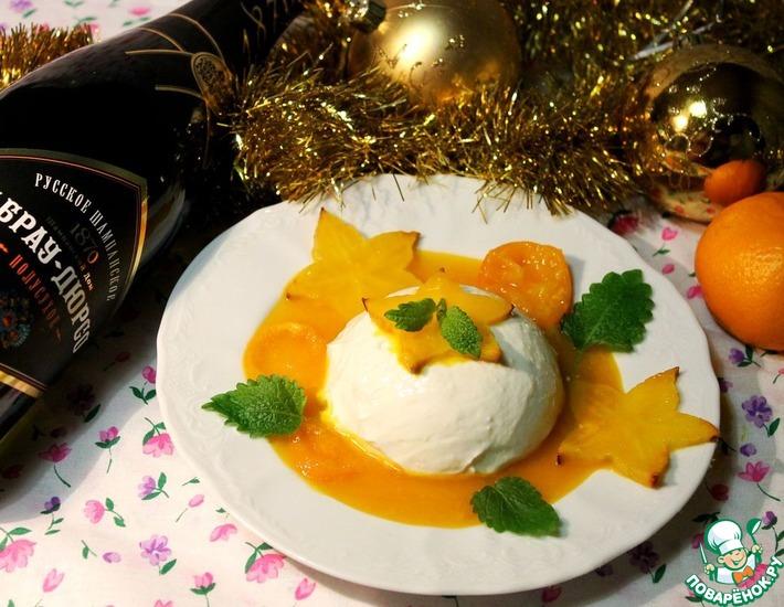 Рецепт: Творожный десерт с карамболой и апельсиновым соусом