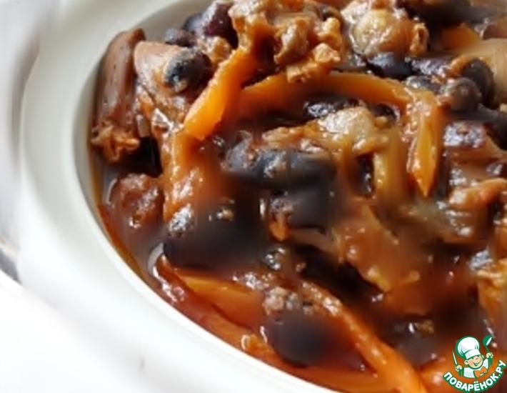 Рецепт: Тушёные куриные сердечки с фасолью и грибами