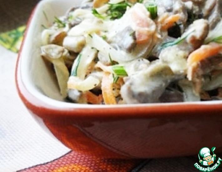 Рецепт: Салат с куриными сердечками, чечевицей и овощами