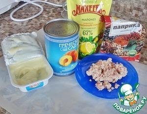 Персики, фаршированные курицей – кулинарный рецепт