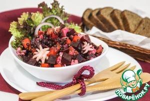 Рецепт Винегрет с черной чечевицей и кальмарами