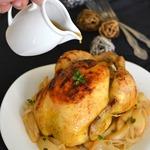 Запеченная курица с сидром и грушами