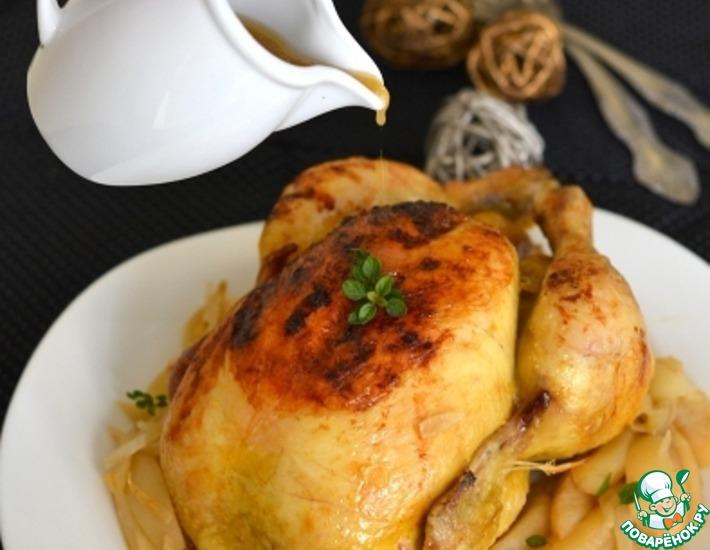 Рецепт: Запеченная курица с сидром и грушами