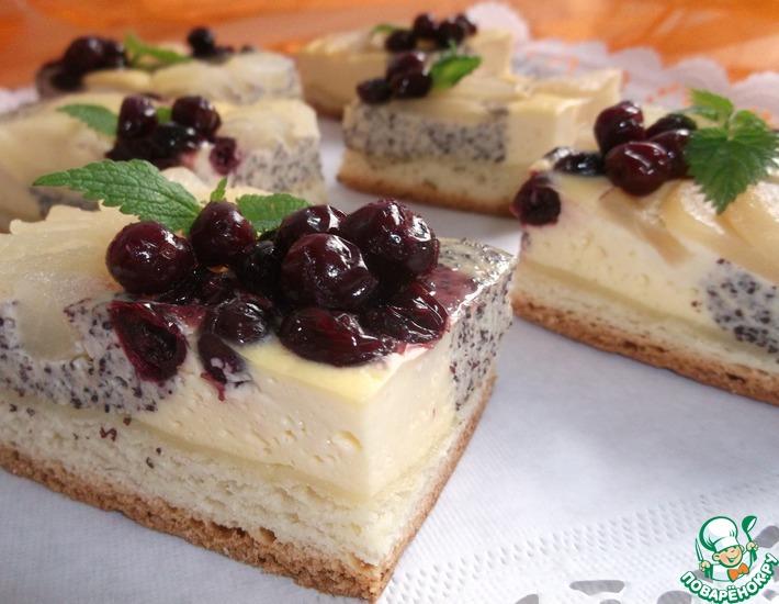Рецепт: Творожно-маковый пирог с грушами