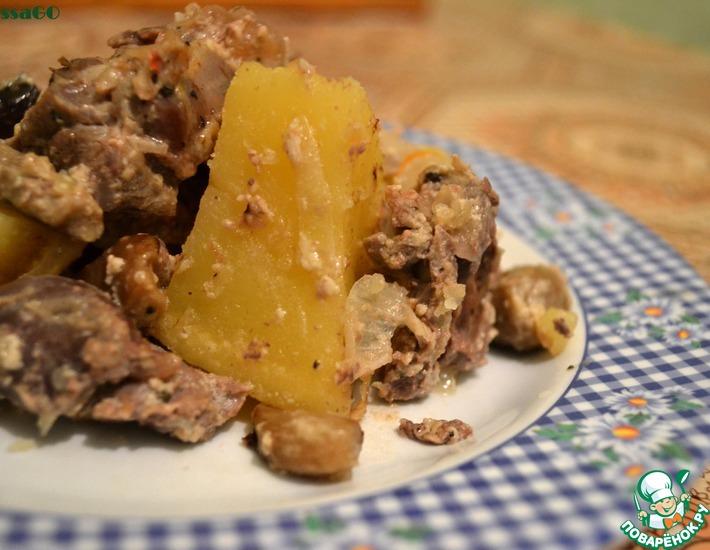Рецепт: Заяц с грибами в горшочках