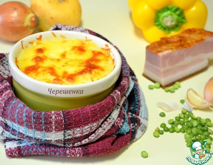 Рецепт: Картофельные мини-запеканки с горохом, грудинкой и грибами