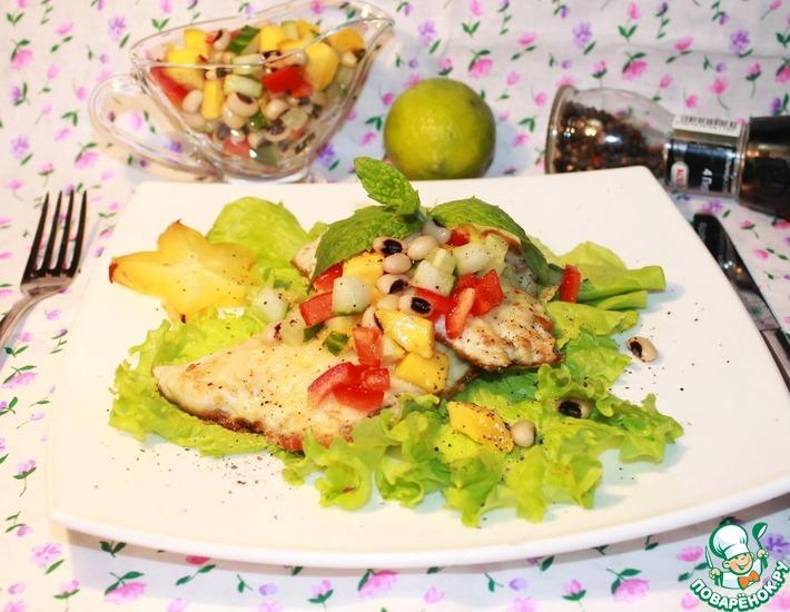 Рецепт: Жареная дорадо с экзотической фасолевой сальсой Карибы