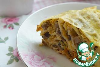 Рецепт: Пирог из лаваша с нутом и грибами