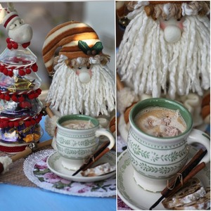 Christmas frozen cream in hot drinks