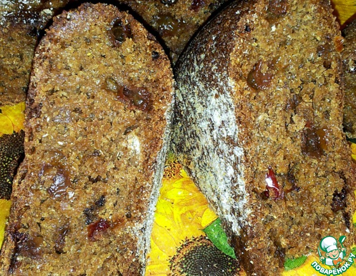 Рецепт: Ржаной хлеб с изюмом, мёдом и болгарским перцем