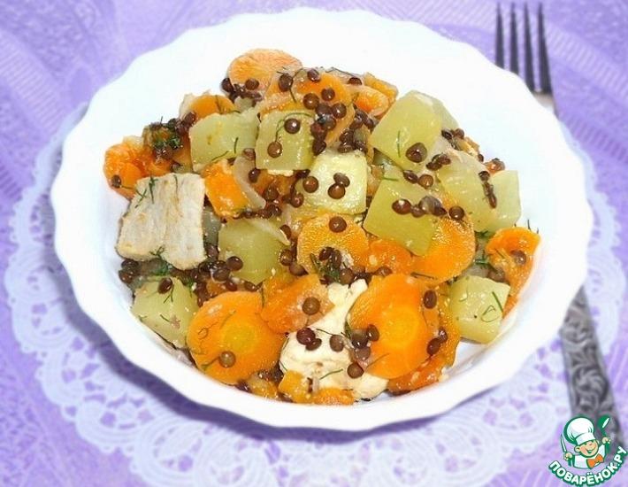 Рецепт: Овощное рагу с мясом, чечевицей и курагой