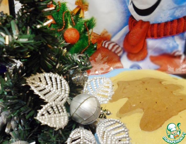 Рецепт: Блины Новогодний завтрак с рисунком