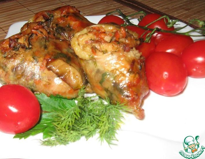 Рецепт: Фаршированные куриные ножки с грибами