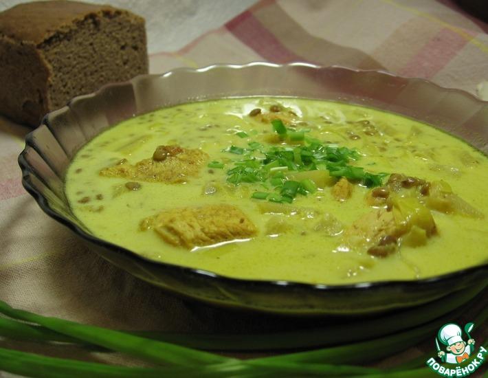 Рецепт: Суп чечевичный с ананасами и курицей