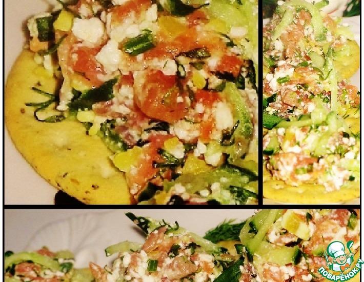 Рецепт: Топинг из семги с творогом и зеленью