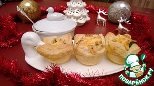 Рецепт Слоеные корзинки с лососем, брокколи и чесноком