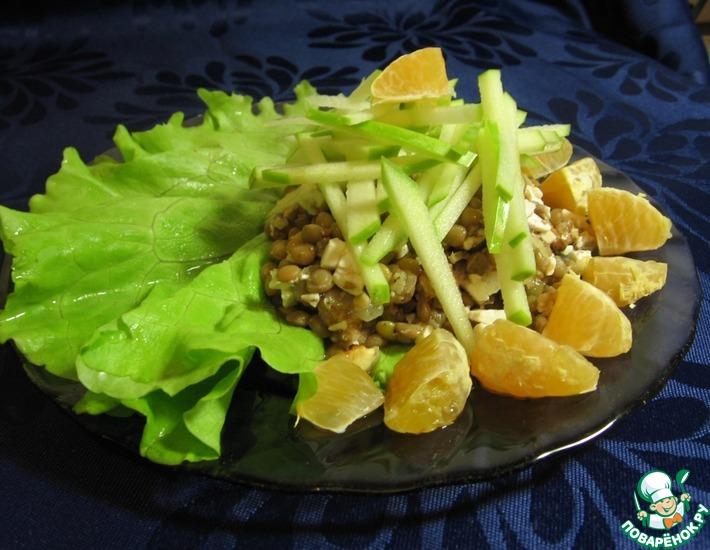 Рецепт: Легкий салат из чечевицы