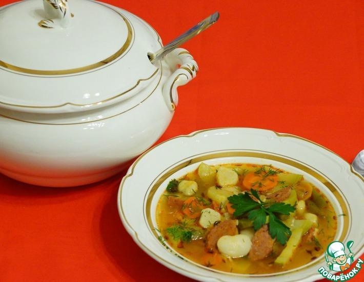 Рецепт: Суп с фасолью и клецками