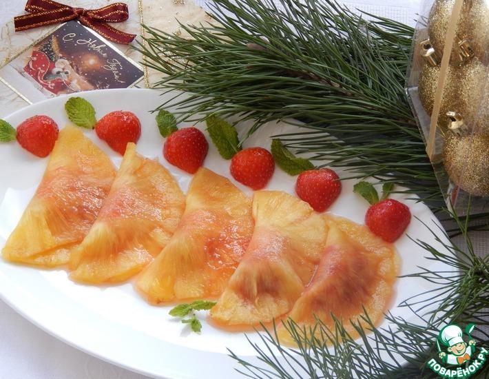Равиоли из ананаса, маринованного в коньяке