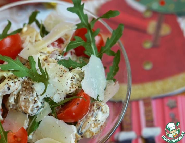 Рецепт: Салат с морепродуктами, пармезаном и рукколой