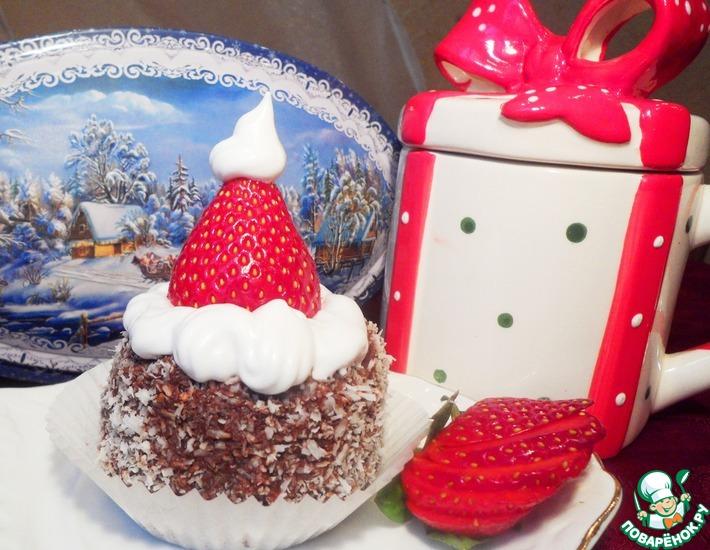 Рецепт: Пирожное Шапочка Санта Клауса