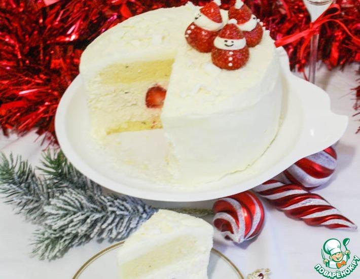 Рецепт: Красно-белый торт на белом шоколаде
