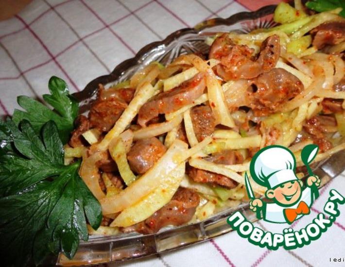 Рецепт: Корейский салат из куриных желудков с редькой