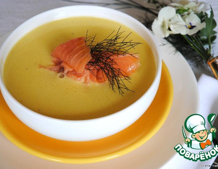 Рецепт: Бархатный крем-суп с лососем