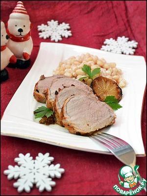 Рецепт Свиная вырезка, запеченная в лаймовом маринаде, с белой фасолью на кокосовом молоке