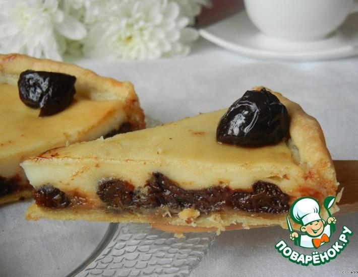 Рецепт: Пирог с черносливом в сметанной заливке