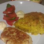 Запеченный картофель Романофф и куриные котлетки