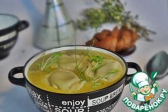 Рецепт: Суп из зелёного горошка с тортеллони