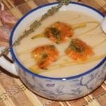 Суп-пюре из фасоли с креветками
