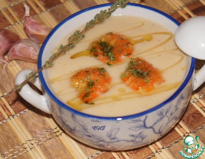 Рецепт: Суп-пюре из фасоли с креветками