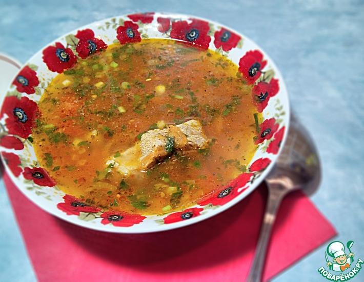 Рецепт: Красный суп с ребрами с антипохмельным эффектом