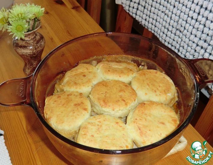 Рецепт: Фаршевый пирог с горчичными лепёшками
